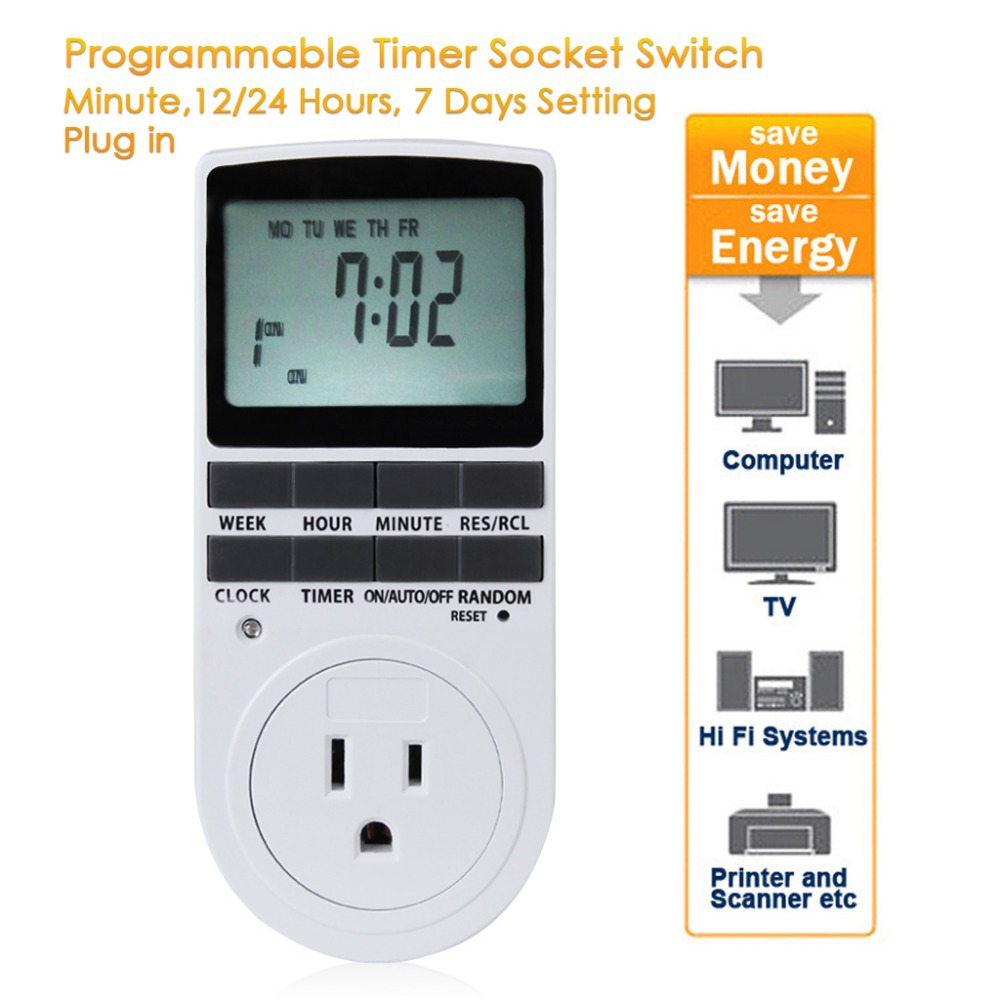 Programmable Electronic Timer Socket for Energy Saving Digital Time Switch US Plug Adapter LCD Display Electronic Power Switch(China (Mainland))