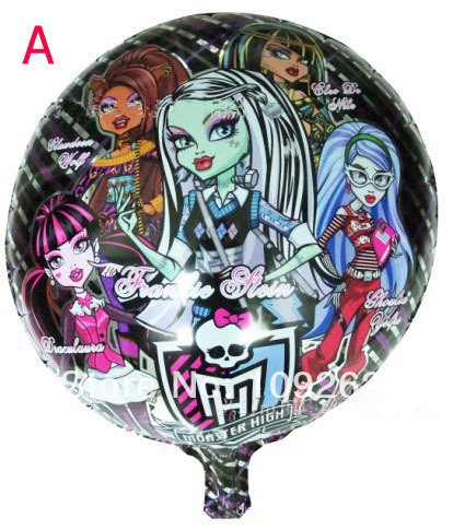 10pcs/lots wholesales Monster High foil balloon Birthday party decoration cartoon balloons Hot sale(China (Mainland))