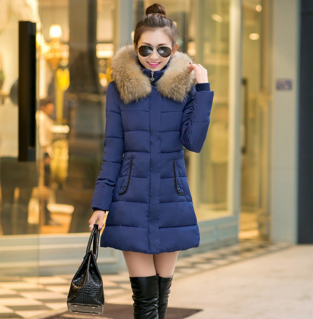 2016 Women's & Parka Plus Size XXXL Warm Outerwear Slim Female Fur collar Hooded Thick Parkas Lady Winter Jacket Coats - YY Family store
