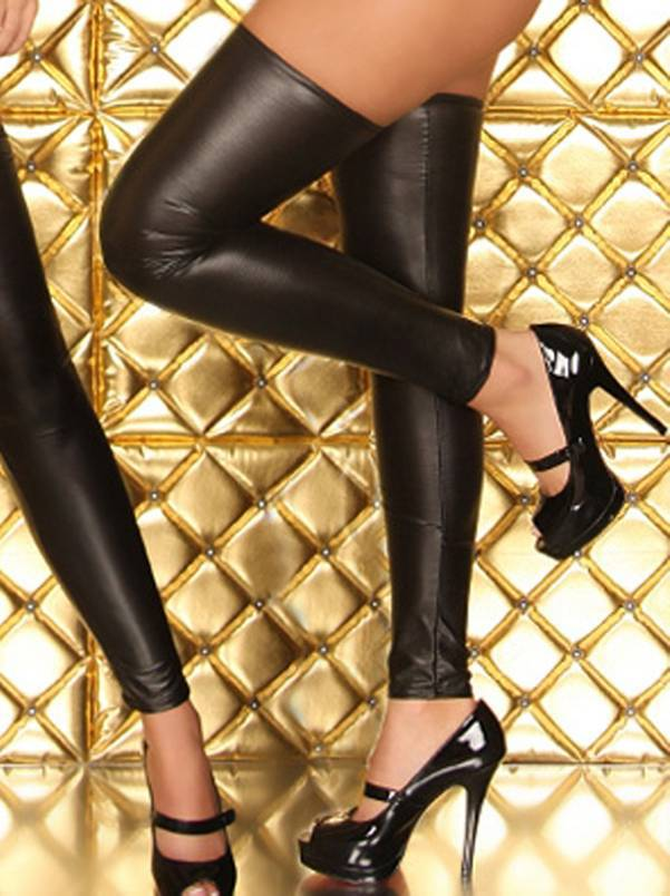 Womens Sexy Leather Lingerie Zippered Jumpsuit Bodycon