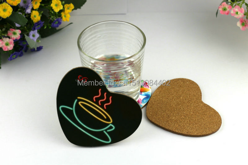 Hot selling new fashion cup mat sentimental appeal tea cup pictures printed heart shape wooden center reusable MDF coasters(China (Mainland))