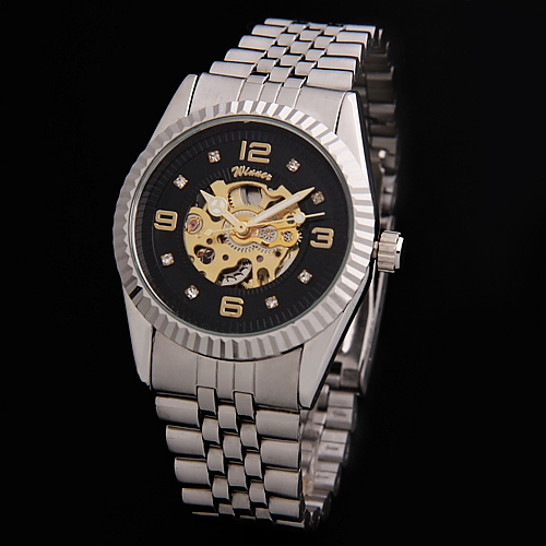 2013 Gift Luxury Mens Business Items Men Full Steel Skeleton Automatic Watch WINNER Famous Brand New Men's Auto Mechanical Clock(China (Mainland))