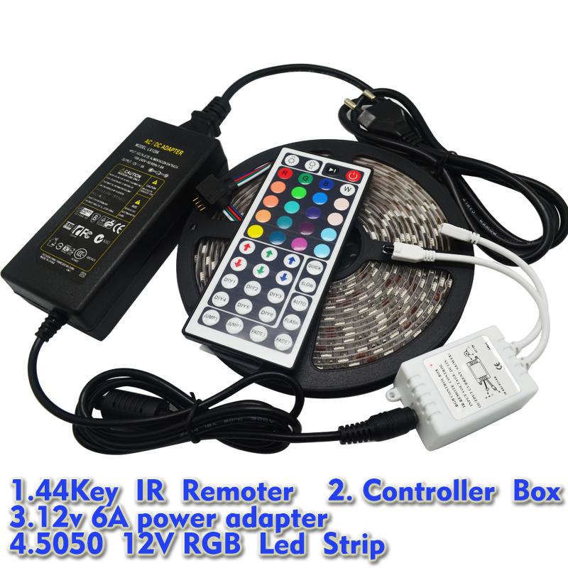 5M RGB Led Strip 5050 SMD Waterproof 60LED/M DC12V LED Strip Light 300 LEDs+44 Keys Remote Controller+12V 6A Power Adapter(China (Mainland))