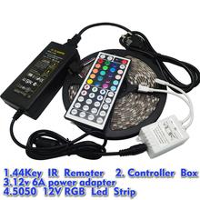 5M RGB Led Strip 5050 Waterproof 60LED/M DC12V LED Strip Light 300 LEDs+44 Keys Remote Controller+12V 6A Power Adapter