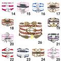 2015 Fine Jewelry Multilayer Leather Bracelet Fashion Mask Jesus Anchors Infinity Heart Owl Wings Charm Bracelets