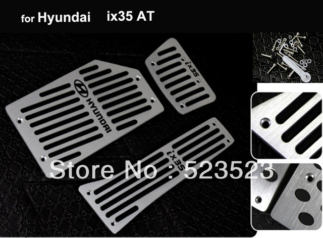 Free Ship for  Hyundai ix35 AT non-slip Foot Pedal+Brake+Rest Pedal - Aluminium Alloy 3pcs