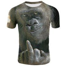 Camiseta con estampado de orangután 3D hombres/mujeres 2019 Venta caliente Animal estampado divertido mono verano Camisetas manga corta camiseta de hombre 4XL(China)