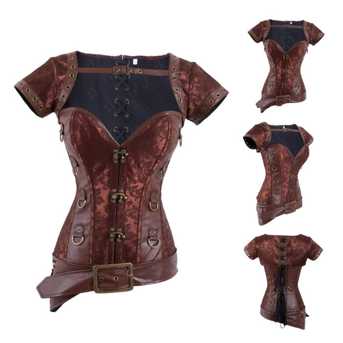 2014 Steampunk Corset top, Women Gothic Steel Boned Corsets Overbust Bustier,lace-up Brocade Buckle front Corselet