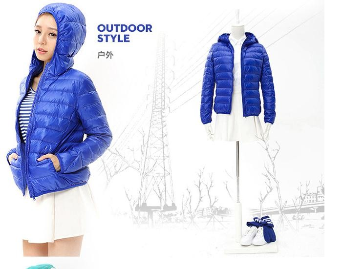 3XL Plus size 90% white duck down hooded thin down jacket 2016 female Slim solid color simple short thin coat down jacket w828