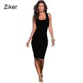 Ziker Brand Fashion Summer Dresses Women Solid Slim Elastic Bodycon Dress Sexy Knee Length Casual Beach
