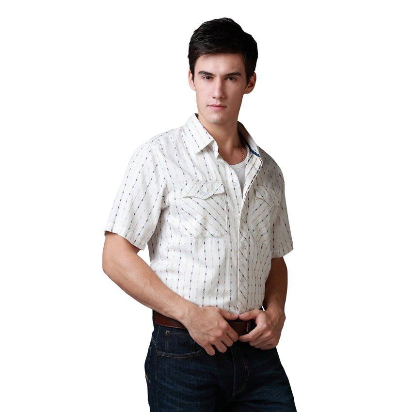 Brand shirts mens casual shirts short sleeve striped dobby for Mens casual shirts brands