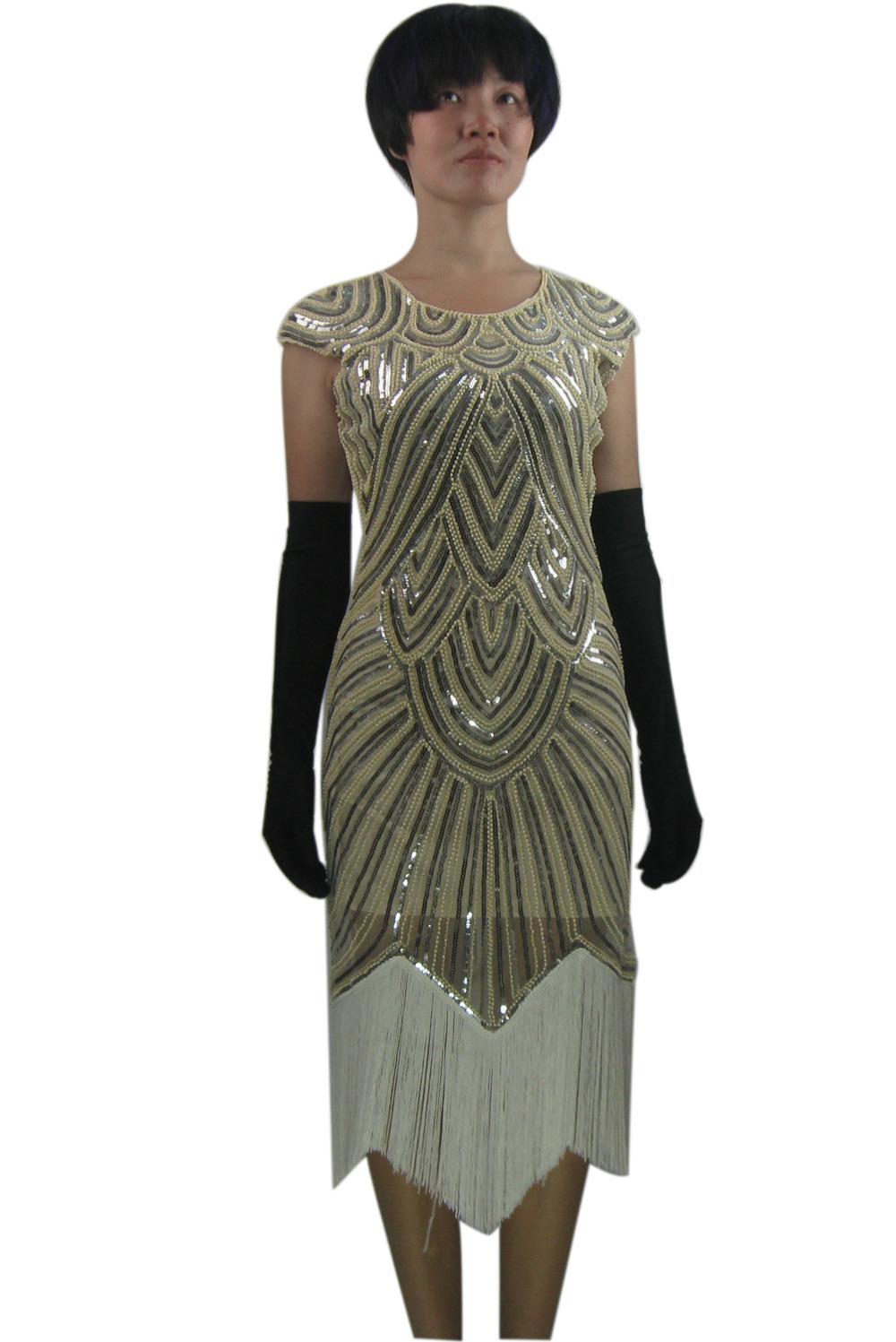 Formal Long Vintage Fringe Beaded 20s Gatsby Flapper Era Inspired ...