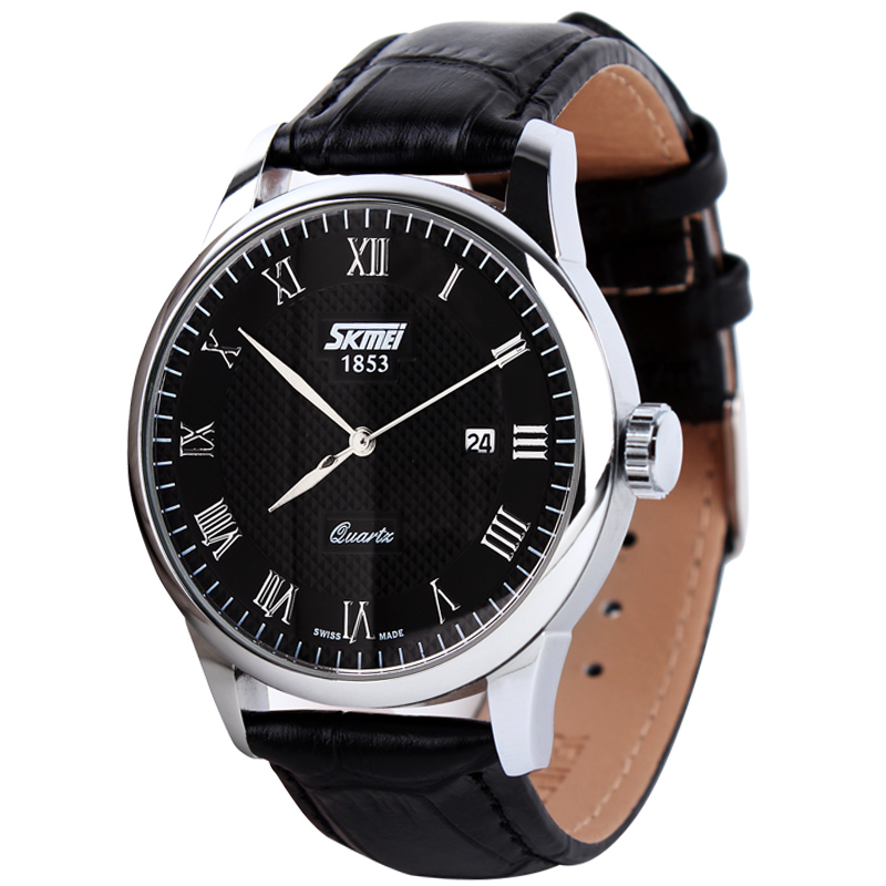 SKMEI Arrival Men Sports Luxury Genuine Calf Leather Watches Business And Casual Quartz Wristwatch With Auto Date New 2015 9058(China (Mainland))