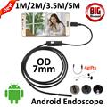3 5m 2m 1m Android USB Endoscope Camera 7mm Lens 5M Snake USB Camera Tube Pipe