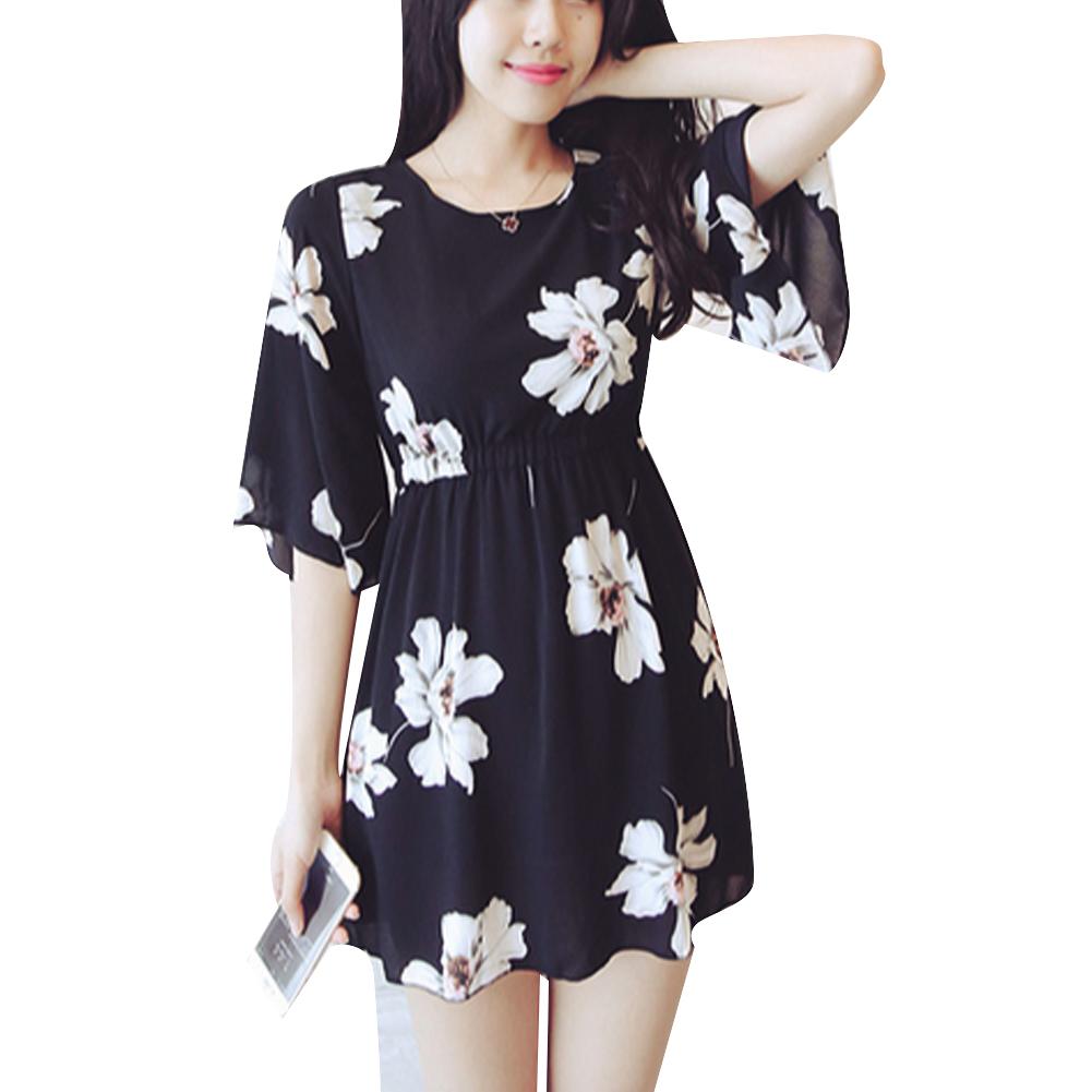 Vestidos 2016 Summer Women Dress Half Sleeve Flower Printed Sweet Loose Ladies Dresses Black White M