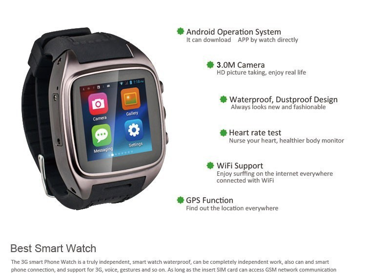 Original Smart Watch PW306 IT65 Android 4.2 Watch MTK6572 4G ROM 1.54″ Capacitive Touch Screen 3MP Camera 3G GPS WIFI Smartphone
