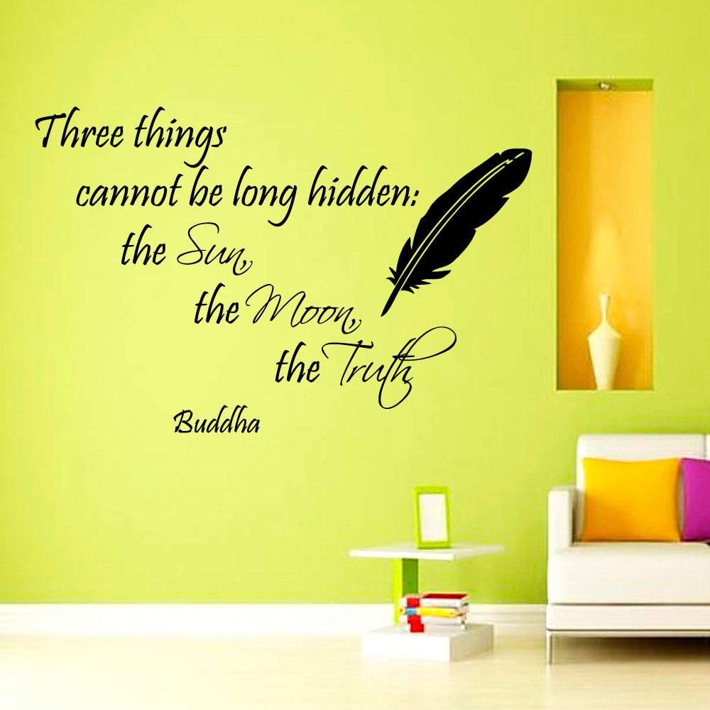 Three Things Cannot Be Long Hidden Buddha Wall Decal Vinyl Art Home Decor Black Feather Sticker(China (Mainland))