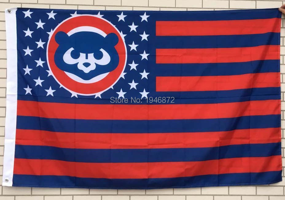 Chicago Cubs Throwback Logo With Stars and Stripes Banner Flag 3X5FT(China (Mainland))