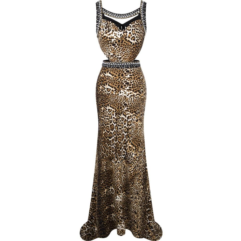 Angel-мода 2016 Из Бисера Печатных Выдалбливают Суд Поезд Длинное Вечернее Платье Леопарда