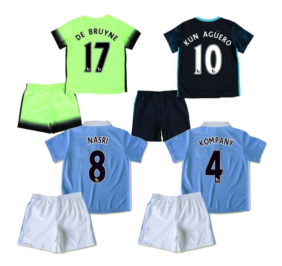2016 Top Thai Quality Kids CITY Shirt Maillot De foot 15 16 Home and away 3rd Kids Survetement city Jerseys(China (Mainland))