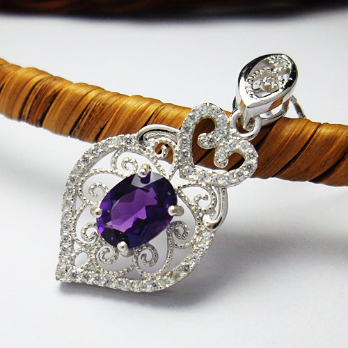 Lovely amethystal necklace pendant woman 925 silver jewelry, free chain - CoLife Jewelry store