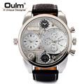 Genuine European Big watch men Japan import quartz dual display wristwatch dz men leather business relogio