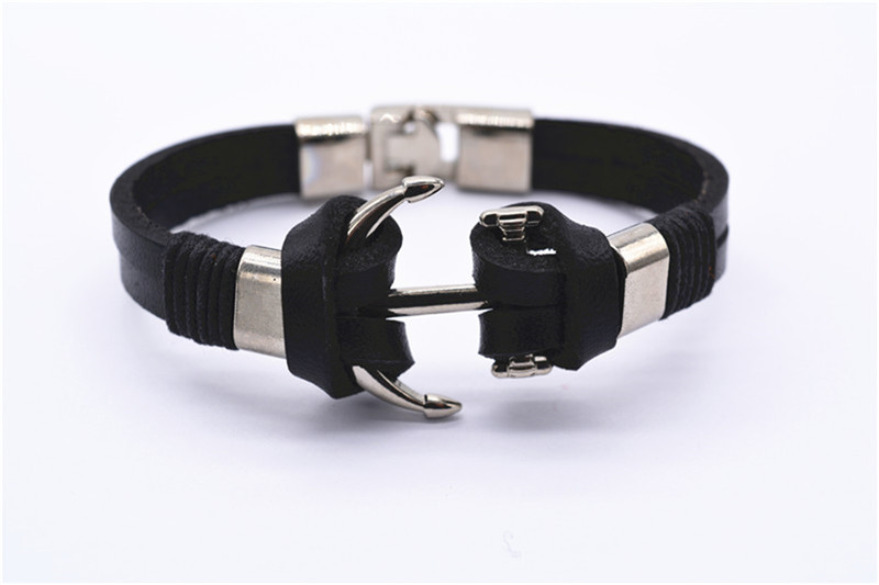 2016 new trend men's stainless steel leather anchor Bracelet retro fashion men's bracelet gift products free shipping!(China (Mainland))
