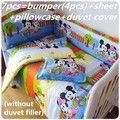Promotion 6 7PCS Mickey Mouse Baby Girl Bedding Duvet Cover 100 Cotton Printed Crib Bedding Set