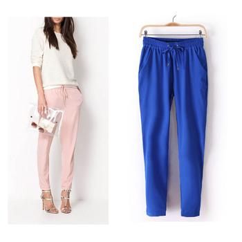 2015 Hot Sale Chiffon Pants Summer Women Pants Casual Harem Pants Drawstring Elastic Waist Pants Plus Size Women Trousers