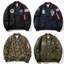 NASA Rockets Embroidery Jackets Men Women The Union Flag Outerwear Brand Clothing US ARMY Military Camouflage Coats Windbreaker(China (Mainland))