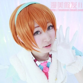 Love Live! lovelive! Hoshizora Rin COS Orange Girl Women Cosplay Wig