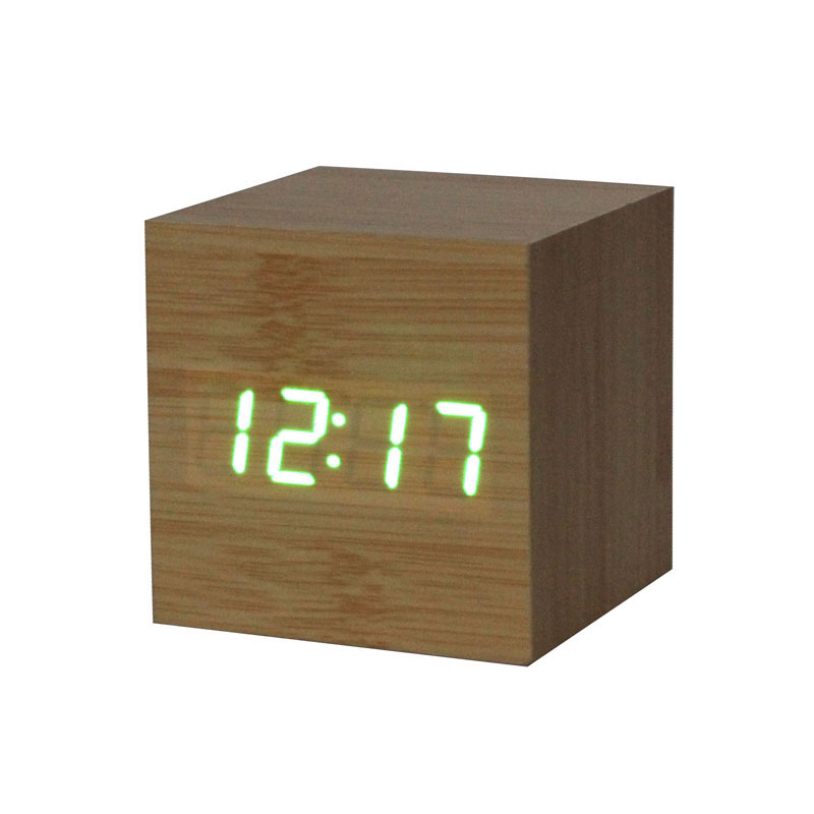 Modern Sensor Wood Clock Dual Led Display Bamboo Clock