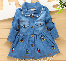 2016 Autumn Spring Casual baby girl dress Kids baby dress infant Children girls denim embroidery cardigan Single-breasted Dress