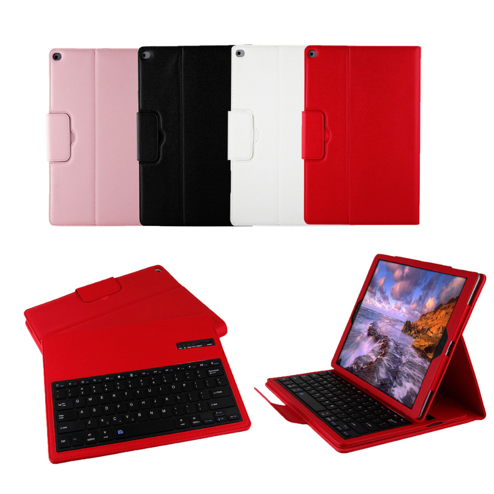 2016 New Arrival Leather Wireless Bluetooth Keyboard Folding Protective Case With Stand Function For iPad Pro12.9 four colors(China (Mainland))