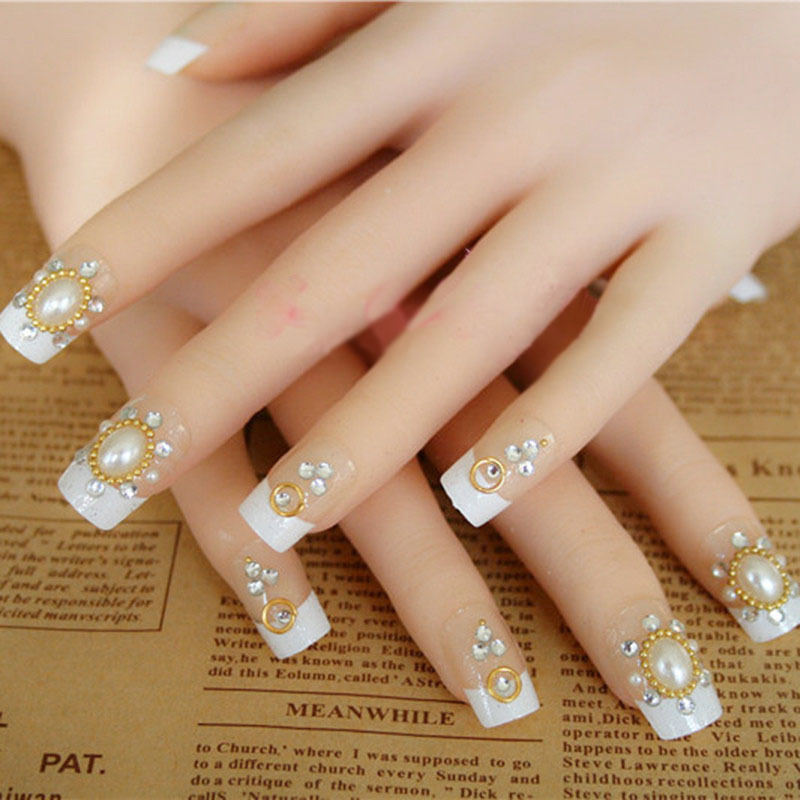 Luxury pearl false nails art decoration,daily wear ladies false nails art ornament,33.19563.Free shipping(China (Mainland))