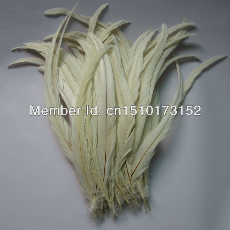 10s 14-16''/35-40cm White Dyed Loose Rooster Tail Feathers Trims Dress/Masks GJ2-1 - TiTi Feather Market store