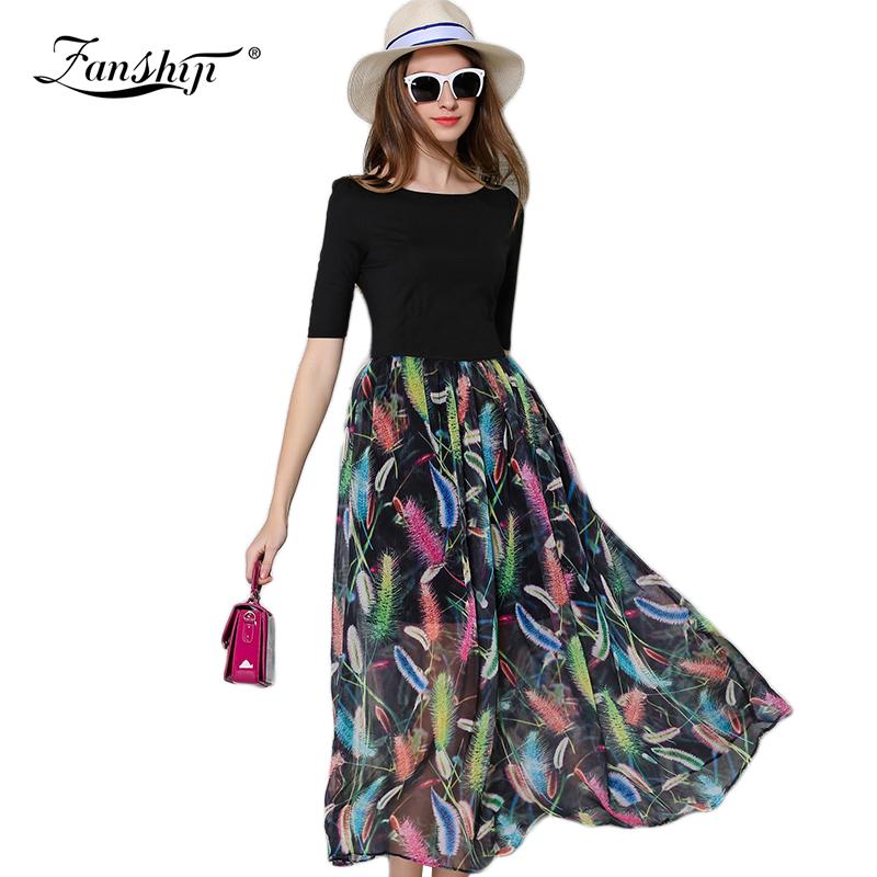 HU LI MA 2016 Summer Women Club Dresses Fashion Loose Elegant Black Print Dress Women Bohemian Dress Big Skirt V-neck ClothesОдежда и ак�е��уары<br><br><br>Aliexpress