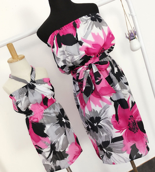 Chiffon Beach Dresses Family Clothing Mother and Daughter Dress Clothes Family Matching Outfit Fashion Chiffon Dress YE01