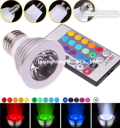 Led Spotlight Bulbs Lamp 3W RGB E27/E14/GU10 16 Colors Changing Led Stage Lights 110-240V + Remote Controller Christmas Light<br><br>Aliexpress