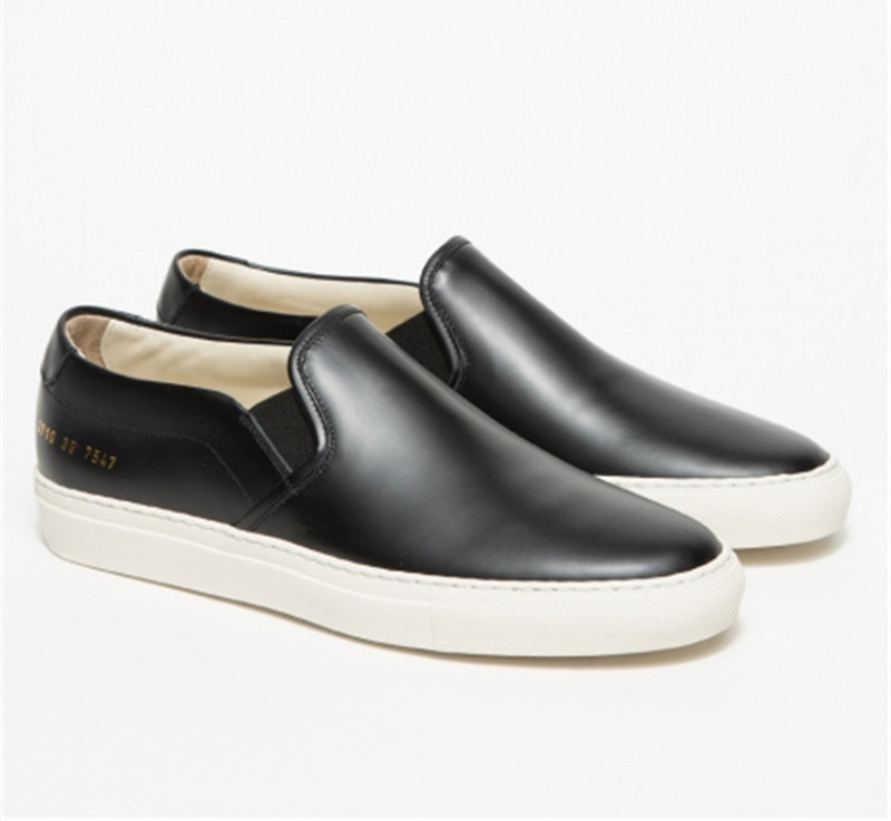 Italy Women By Common Projects Low Shoes For Men Woman Genuine Leather Sheepskin Black Casual Shoes Chaussure Femme Homme 2016<br><br>Aliexpress