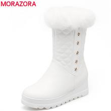 MORAZORA Más El tamaño 34-43 nueva mantener caliente media pantorrilla nieve zapatos de mujer dulce plataforma punta redonda de cuero suave de las mujeres botas de invierno(China (Mainland))