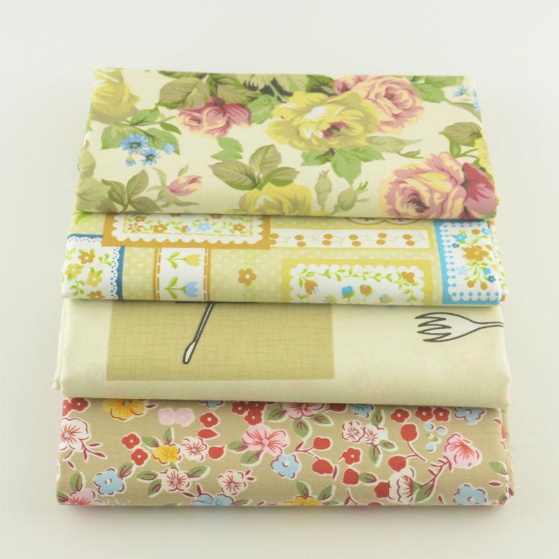 Brown Retro Flower Cotton Fabric Twill Denim 4PCS Clothing Home Textiles Telas Teramila Tecido Curtains Material Fabric(China (Mainland))