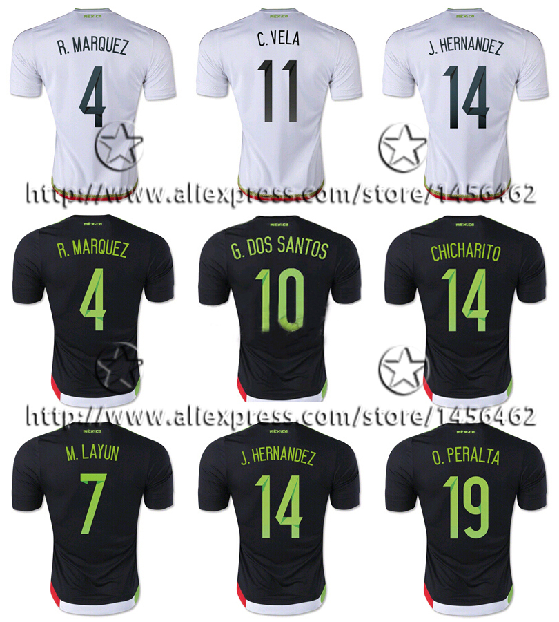 Top thai Quality 15 16 Mexico jersey CHICHARITO R.MARQUEZ soccer jersey With All embroidery Orignal Logo 2015 football shirts(China (Mainland))