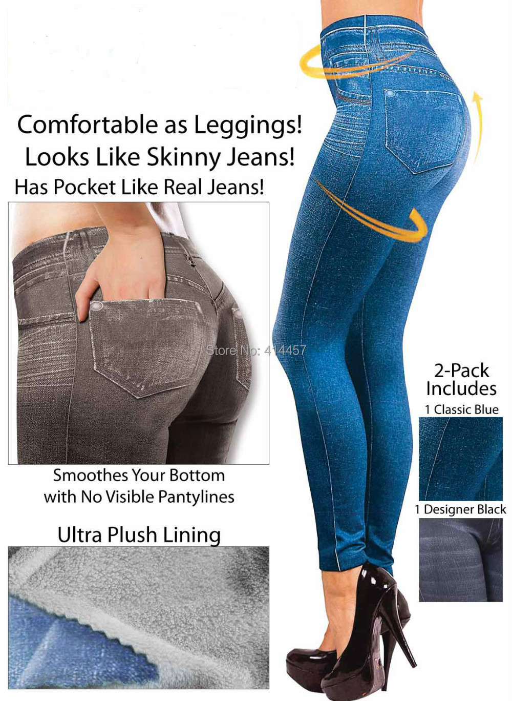 2015 popular womens' jean printed slim jeggings legging with 2 real pockets1 lot=2pcs(1 blue+1black) All free shipping(China (Mainland))