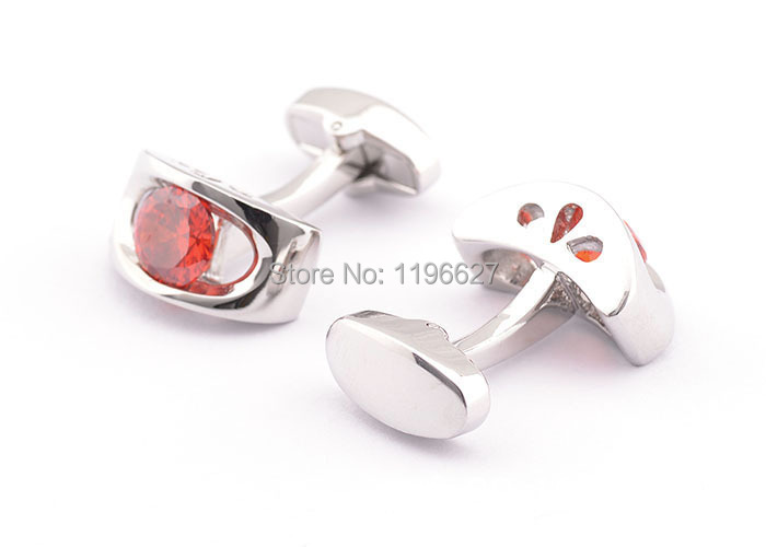 Trendy French Shirt Cufflinks Men Ruby Crystal Platinum Plated Cuff Links suit Wedding Commercial Casual Events - xtopmall store