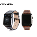 CHIMAERA 42mm Black Brown Genuine leather watch band for Apple watch with Spring bar adapter Link