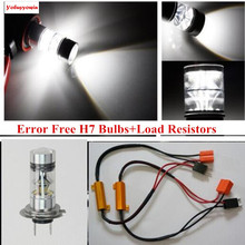 Buy 2Pcs Car Canbus Xenon White Error Free 20SMD Cree Chip 100W LED H7 Fog Driving DRL Lights+Bypass Wiring Decoder MercedesBenz for $28.80 in AliExpress store