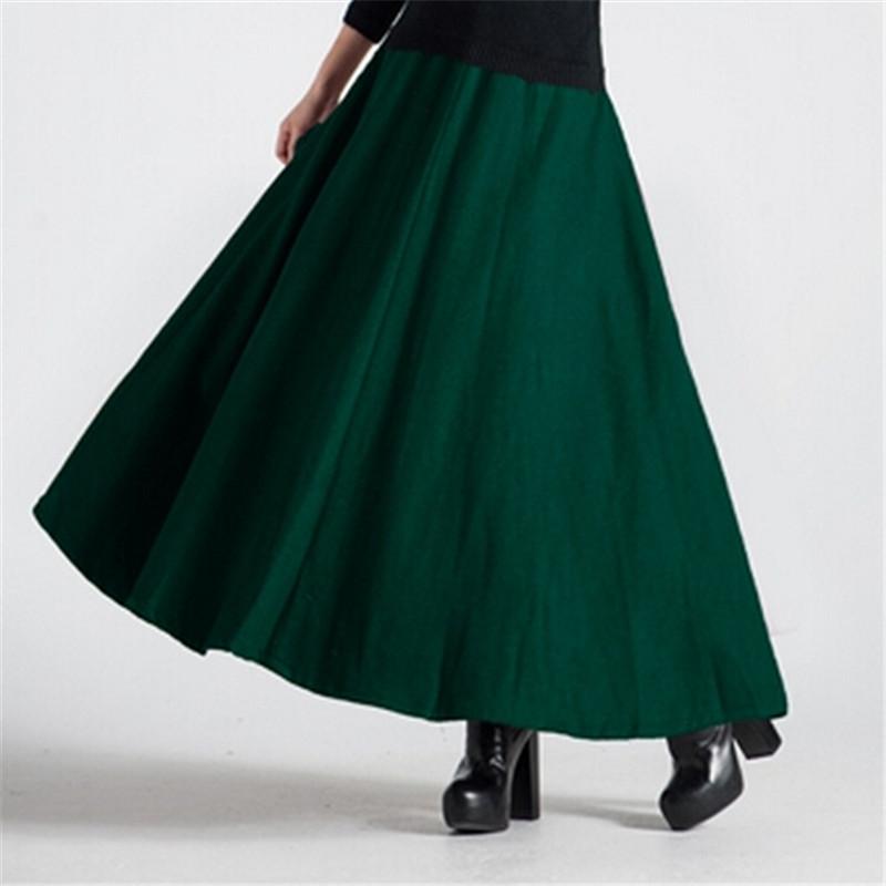 New Winter Women Maxi font b Skirt b font Fashion Woolen font b Skirts b font