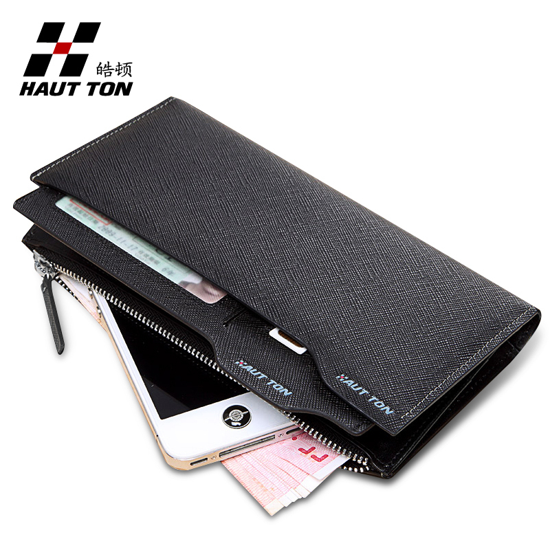 2014 Hautton fashion leather purse men with zipper pocket genuine leather wallet(China (Mainland))