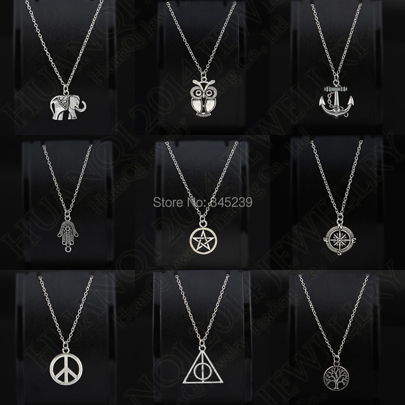 """Fashion Unisex Retro Tibetan Silver Pendant """"Anchor,Elephant,Peace,Life Tree,Long Chain Necklace Charm Gifts Jewelry , 9Styles(China (Mainland))"""